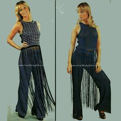 WZ624 Crocheted fringed top and lace trousers, perfect 70's disco style pattern from WonkyZebra.com