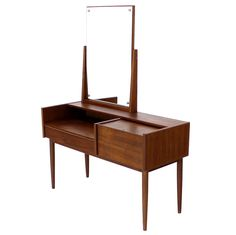 Vintage Mid-Century Danish Modern Teak Dressing Table Vanity i'd start wearing makeup to own this.