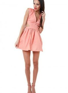 e7bac0a55a Peach Sleeveless Dress w  Deep V neckline  amp  Side Cut outs  ustrendy