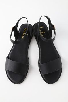 Get back to basics in the Insta-worthy Lulus Hearts and Hashtags Black Flat Sandals! You can wear these vegan leather sandals anywhere, with their simple toe band and gold-buckled ankle strap. Dressy Sandals, Lace Up Sandals, Leather Sandals, Women Sandals, Comfortable Sandals, Shoes Women, Ladies Shoes, Ankle Straps, Ankle Strap Sandals