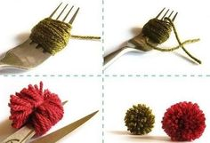 I believe the best way of making small pompoms is using a fork. There are many ways of making nice, full and round looking pompoms (pompons, pom-poms or pom-pons as they are variously written) but … Cute Crafts, Crafts To Do, Yarn Crafts, Crafts For Kids, Arts And Crafts, Diy Crafts, How To Make A Pom Pom, Do It Yourself Fashion, Knitting Supplies