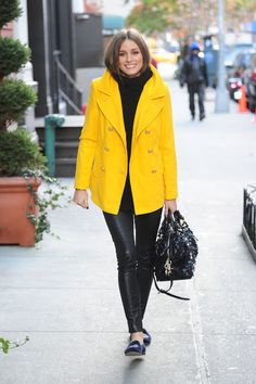 8a9a4c7d35cb Olivia Palermo - yellow Old Navy coat (swap for my green pea coat) that she  + a chunky sweater