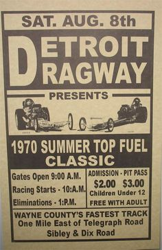 "Who can forget the commercial on the radio? At Detroit Dragway!"" I was at this race. My dad raced cars and we were at the track every single weekend. State Of Michigan, Detroit Michigan, Michigan Facts, Muskegon Michigan, Detroit History, Architecture Quotes, Drag Cars, Vintage Racing, Car Humor"