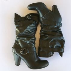 """Black slouchy boots These are very comfortable and could be worn with a dress, leggings or your favorite pair of jeans! Loop rings are a dark gray. 3"""" heel GUC Nicole by Nicole Miller Shoes Heeled Boots"""