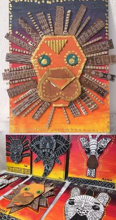 Love these great cardboard animal portraits! Thinking of human portraits too. No directions attached, but I think they're easy to figure out for an assignment idea! Kunst Grundschule Love these great cardboard animal portraits! Thinking of human portrait African Art Projects, Animal Art Projects, African Art For Kids, African Children, African Crafts Kids, Jungle Art Projects, Cardboard Kids, Cardboard Design, Cardboard Animals