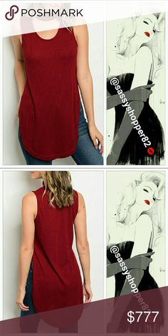 """🔥LAST 3🔥'AMORE' Wine red choker top Brand new with tags 👍Price is firm👍   Sexy ribbed choker top featuring sassy side slits! Pair this Beauty with jeans/leggings and boots for a complete look!!   65% polyester 35% rayon Small: Bust16.5""""across:length front 31"""", length back 33"""". Medium: Bust 18""""across: length in front31"""", in back 34"""". Large 19""""across, Front Length 32"""" , Back Length 34"""".  💖Shop with confidence💖 🎉🎊Suggested User🎊🎉 📮💌Same day shipping📮💌 5🌟🌟🌟🌟🌟star rated closet…"""