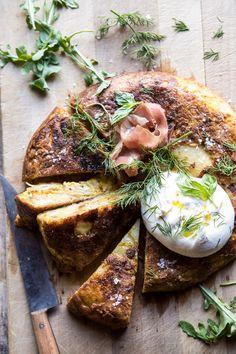 Spanish Tortilla with Burrata and Herbs | halfbakedharvest.com #brunch #potatoes #eggs