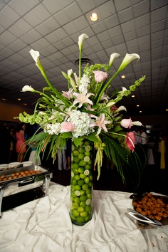 flower and lime centerpiece at my wedding reception