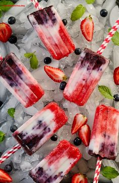 Berry Coconut Yogurt Popsicles
