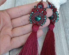 Marsala and Emerald Tassel Soutache Earrings - Tassel Soutache Earrings - Statement Earrings -Hand Embroidered Earrings with red tassel