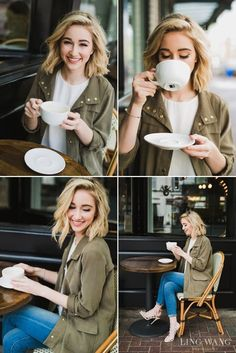 green jacket, jeans, heels, and grey sweater - perfect Parisian outfit for a coffee shop date