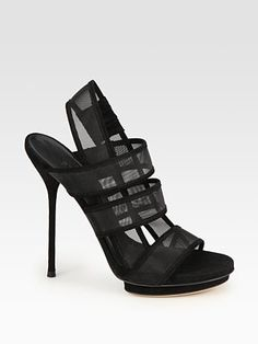 Gucci - Bette Suede and Mesh Slingback Platform Sandals - Saks.com