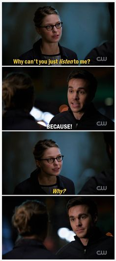 """Kara and Mon-El Supergirl 2x10 """"We Can Be Heroes."""" I really dig this scene. His wanting-but-not-wanting to tell her is so frustrating, but so understandable. 