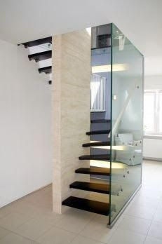 Stylish 45 Modern Stairs Design Ideas With Incredible Style To Have Asap. Glass Stairs Design, Home Stairs Design, Railing Design, Interior Stairs, Modern House Design, Stair Design, Staircase Railings, Stair Treads, Staircases