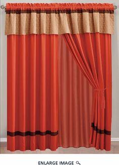 Orange/Taupe Curtain Set w/ Valance/Sheer/Tassels