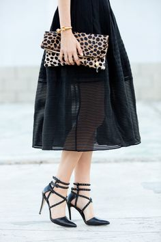 {Black, sheer and leopard.}