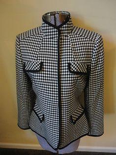 Classic Beauty for career wardrobe.  Tahari Arthur S Levine Houndstooth Blazer Jacket Wool Black Off White 4P $39.99   http://cgi.ebay.com/ws/eBayISAPI.dll?ViewItem=300775505458=STRK:MESE:IT