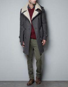 Coat With Sheepskin Collar