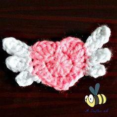 crochet winged heart applique
