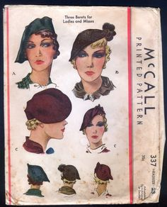 1935 McCall Pattern 337 Ladies Berets, hats in Three Styles | eBay