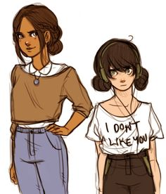 by batcii:  Some quick modern!au Toph and Katara because I love these two girls so much and sometimes (all of the time) I just want to doodle them