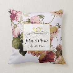 Browse our amazing and unique Vintage wedding gifts today. The happy couple will cherish a sentimental gift from Zazzle. Golden Anniversary Gifts, Romantic Anniversary, 50th Wedding Anniversary, Floral Throws, Floral Throw Pillows, Matching Gifts, Romantic Gifts, Vintage Gifts, Vintage Floral