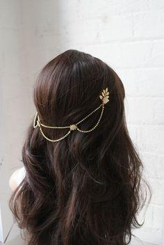 Bridal Headpiece - 1920s wedding Headpiece - Bohemian Bridal Accessory- Gold-tone headpiece with drapes