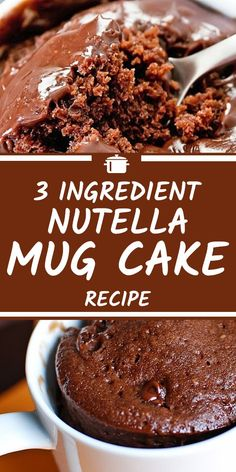 This Nutella mug cake recipe is simply delicious and only uses 3 ingredients and no eggs in sight! If your looking for the perfect microwave cake recipe to try for desert then this mug cake could be it! Desserts Nutella Mug Cake Recipe: 3 Ingredients Vegan Mug Cake, Nutella Mug Cake, Chocolate Mug Cakes, Nutella Brownies, Nutella Cookies, Nutella Mousse, Chocolate Lava, Dessert Chocolate, Chocolate Hazelnut