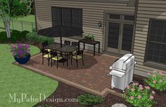 320 sq. ft. of Outdoor Living Space. Plenty of Space for Large Patio Table. Paved Pad for Roll Around Barbecue Grill. Designed to Fit Corner H