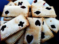 I made these card themed tarts for a poker party. They're really easy- just cut into desired shapes, add preserves for filling, and bake at 400 for 10 minutes or until golden.