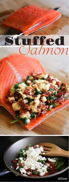 You've never had salmon like this! Stuff salmon with feta, sundried tomatoes and spinach for an amazing flavor combo you would never expect. The recipe is so easy to follow, you can't mess it up! A great healthy meal that's easy enough to make for large families or just single   meals. http://www.ehow.com/how_2303835_cook-stuffed-salmon.html?utm_source=pinterest.com&utm_medium=referral&utm_content=freestyle&utm_campaign=fanpage: