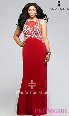 9e8b5c57d11 Faviana Long Plus Size Prom Dress at PromGirl.com Long Formal Gowns