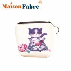 Modern  Cute Cat Women Girl Leather Zip Coin Purse Key Card Bag Lady Wallet Small Money Bags H17 #jewelry, #women, #men, #hats, #watches, #belts