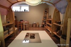 Some great children's spaces - Natural Pod. Changing the ceiling lines with arch frame and fabric Play Spaces, Learning Spaces, Learning Environments, Kid Spaces, Living Spaces, Classroom Layout, Classroom Design, Classroom Decor, Preschool Rooms