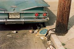 William Eggleston.  I love his color photography.  This photograph symbolizes the 1960s before the environmental movement of the 1970s.  The photo makes trash beautiful bringing attention to our capitalistic society through discarded objects beer cans, cigarette stubs, and an old general electric box.
