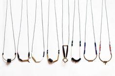 geometric, tribal, brass, white bone, czech beads and black rope, long, beaded necklace