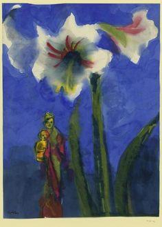 Emil Nolde(German/Danish, 1867 - 1956)- White amaryllis,...