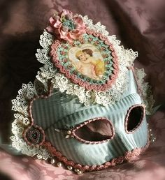 Victorian style blue and pink mask