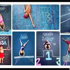 Great idea for sidewalk chalk activity for your aspiring Olympian.