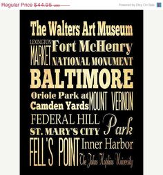 ON SALE Baltimore Typography Art Poster / Bus  / by LegacyHouseArt,