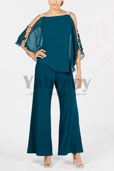 Greenblack Hunter Two piece Mother of the bride pantsuits Overlay Top Trousers set 2019 New arrival Mother Of The Bride Trousers, Mother Of The Bride Suits, Mother Of Bride Outfits, Bridal Pants, Dress Over Pants, Groom And Groomsmen Attire, Dressy Pants, Pantsuits For Women, Plus Dresses