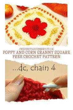 Round Loom Knitting, Loom Knitting Patterns, Crochet Square Patterns, Crochet Squares, Knitting Stitches, Crochet Cable, Easy Crochet, Free Crochet, Autumn Crochet