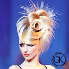 solidly different ~ balanced to my taste and their strapless outfit ~ highly artistic ~ very flattering ~ classic ~ timeless ~ dramatic Work Hairstyles, Creative Hairstyles, Summer Hairstyles, Angelo Seminara, Peinado Updo, High Fashion Hair, Competition Hair, Avant Garde Hair, Special Occasion Hairstyles