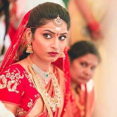 South Indian bride. Diamond Indian bridal  jewelry. Jhumkis.Red silk kanchipuram sari.Braid with fresh jasmine flowers. Tamil bride. Telugu bride. Kannada bride. Hindu bride. Malayalee bride.Kerala bride.South Indian wedding
