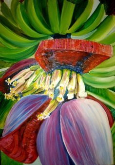 The Banana Flower Oil Painting original artwork by MARVINSTUDIO, $35.00 http://www.pinterest.com/marvinstudio/