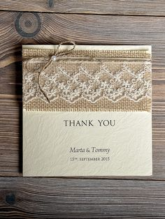Custom listing for WILLIAM 18 Wedding Thank You Cards , Rustic Thank You Card , Recycling Paper , Twine and Lace on Etsy, $54.00