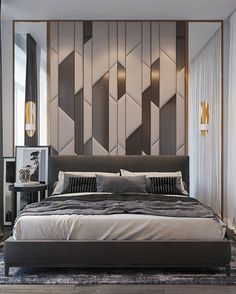Get inspired by these modern bedroom design projects. Bed Headboard Design, Bedroom Furniture Design, Bedroom Bed Design, Cozy Bedroom, Earthy Bedroom, 70s Bedroom, Staging Furniture, Easy Home Decor, Home Decor Trends