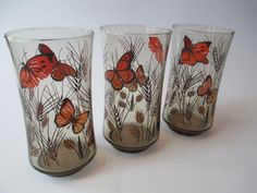 Vintage Libbey Butterfly Wheat Brown Orange Glass Tumbler Set of Three