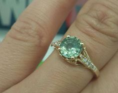 Green Sapphire Ring, Green Sapphire Engagement Ring, Sapphire Diamond Ring, Rose Gold Sapphire Ring, Wedding ring, natural sapphire ring