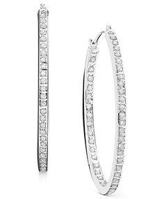 14k White Gold Earrings, Diamond Accent Hoop Earrings